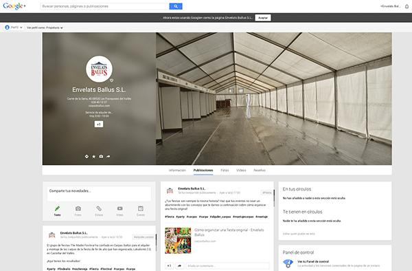 Carpas Ballús ya tiene página de google +